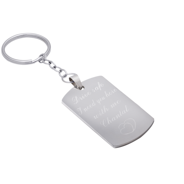 Schlüsselanhänger aus Edelstahl inkl. Textgravur