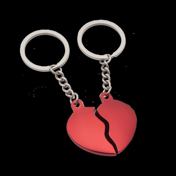 Schlüsselanhänger aus Herzhälften inkl. Textgravur in verschiedenen Farben