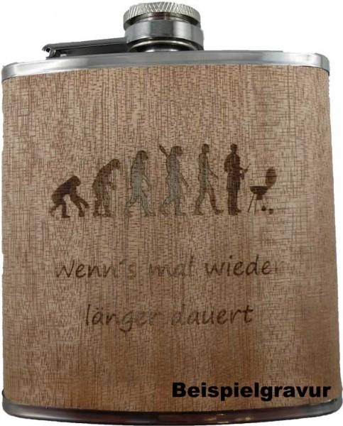 Flachmann in hellem Holz